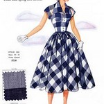Tissue Sheer Gingham Plaid in Muted Shades by Fashion Frocks - Art Print