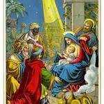 Baby Jesus Receives Gifts - Art Print