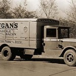 Kingan's 'Reliable' Hams and Bacon, Fresh Pork and Beef Delivery Truck - Art Print