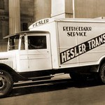 Hesler Transfer Co. Delivery Truck with Refrigerator Service - Art Print