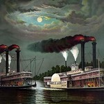 Race of the steamers Robert. E. Lee and Natchez on the Mississippi by Donaldson - Art Print