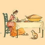 A Slice of Pie and a Hungry Kitten by Kate Greenaway - Art Print