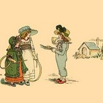 A Piece of Pie of A Game of Hoop? by Kate Greenaway - Art Print