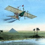 Over the Nile & the Pyramids in a Plane - Art Print
