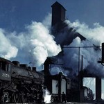 Locomotives getting their energy from coal and dropping their ashes - Art Print
