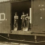 3 Boys in Box Car - Art Print