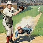 Baseball Play at the Plate by Strobridge - Art Print