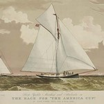 Sloop yachts Mischief and Atalanta in the race for 'The America Cup' - Art Print