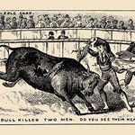 The Bull Killed Two Men. Do you see their heads? by Theo Leonhardt & Son - Art Print