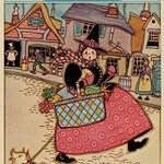 Cartoon Character walks thru and old town carrying a basket of produce by Home Arts - Art Print