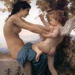 A Young Girl Defending Herself Against Eros by William Bouguereau - Art Print