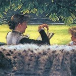 A Story read by James Tissot - Art Print