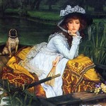 A Young woman in a boat by James Tissot - Art Print