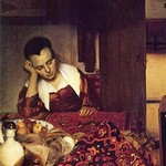 A Woman Asleep by Johannes Vermeer - Art Print