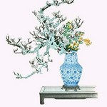 Yamanashi & Takejimayuri (Wild Pear and Lily) in a Blue and white Porcelain Vase by Josiah Conder #2 - Art Print