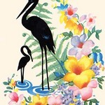 Storks and Flowers - Art Print