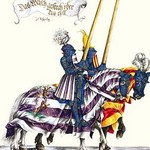 German Knights in Horseback in Procession by H. Burkmair 0 - Art Print