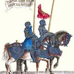 German Knights in Horseback in Procession by H. Burkmair 2 - Art Print