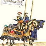 German Knights in Horseback in Procession by H. Burkmair #2 - Art Print