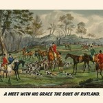 A Meet with his grace the Duke of Rutland by Henry Alken - Art Print