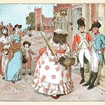 A She bear in Human clothes walks down the street passed soldiers by Randolph Caldecott - Art Print