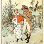 A Young Couple Promenade on a country way by Randolph Caldecott - Art Print