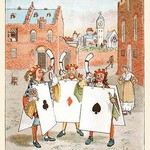 A Horn call and hue and cry was issued by the Cards of Court by Randolph Caldecott - Art Print