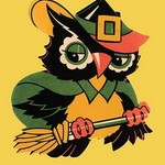 Wizard Owl on Broomstick - Art Print