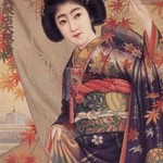Japanese Woman with a Japanese Maple - Art Print