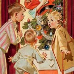 What is Santa doing to Mommy? by Joseph Christian Leyendecker - Art Print