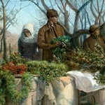 Selling Christmas Greens by E.H. Miller - Art Print