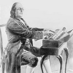 Benjamin Franklin Playing the Armonica - Art Print