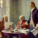 Writing the Declaration of Independence in 1776 by Jean Leon Gerome Ferris - Art Print