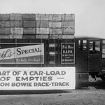 Truck load of empty bottles in boxes from racetrack - Art Print