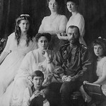 Tsar Nicholas and Alexandra Pose with third Children Before the Revolution - Art Print