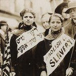 Young Girls Protest Child Labor in New York Rally and carry Yiddish Signs - Art Print