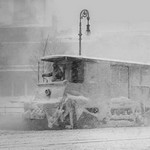 Trolley Snowplow Pushes ahead in heavy snowfall on New York Streets - Art Print