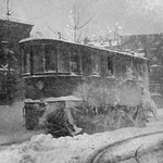 New York Trolley Car makes its way during the Blizzard of 1922 - Art Print