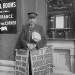 Newspaper salesman in front of Buffet Restaurant in Central London advertises News Headlines - Art Print