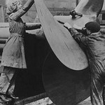 English Workers labor over a ship's Propeller at Shipyard - Art Print