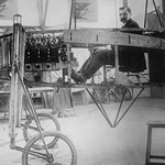 French Aviator & Engineer Louis Bleriot in his Workshop - Art Print