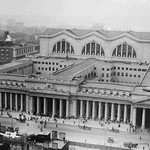 View of the since demolished Pennsylvania Railroad Station as seen from Gimbels - Art Print