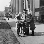 Boys buy peanuts from Street Vendor of 42nd street. NYC - Art Print