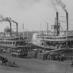 Two Steamboats Along the Levee at the Mississippi River - Art Print