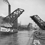 12th St. Bascule Bridge Lifts to Let Excursion Boat Through - Art Print