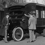 Delivery of New Mail Truck Inspected by four men - Art Print