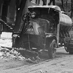 Tank Truck with Snow Plow Cleans the Streets - Art Print