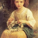 A Young Girl braids a Garland Crown of Flowers by William Bouguereau - Art Print