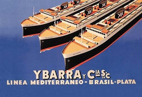 Ybarra and Company Mediterranean-Brazil-Plata Cruise Line by Flos - Art Print