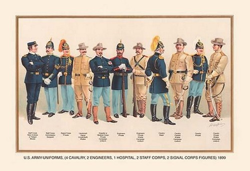 Uniforms (4 Cavalry, 2 Engineers, 1 Hospital, 2 Staff, 2 Signal Corps), 1899 by Arthur Wagner - Art Print